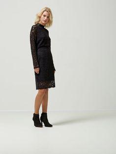 LACE - LONG SLEEVED DRESS, Black, large