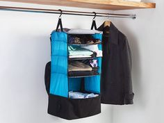 A suitcase with a built-in closet. Pack items on the shelves, lower them into the bag, then hang up at your destination.