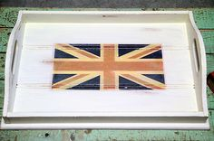 SHABBY CHIC, ANTIQUE WHITE, UNION JACK SERVING TRAY $20
