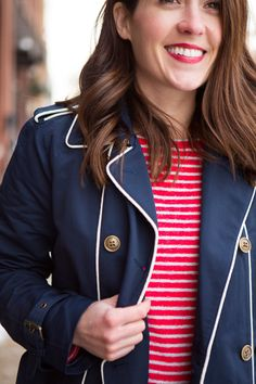 navy Lands' End trench + striped tee