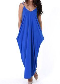 Royal Blue Open Back Maxi Dress on sale only US$23.49 now, buy cheap Royal Blue Open Back Maxi Dress at liligal.com