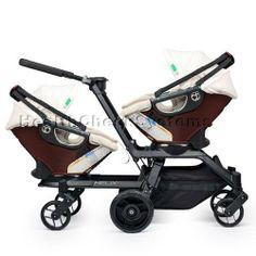 Orbit Baby Helix G2 Double Stroller with 2 Infant Car Seats in Mocha Khaki