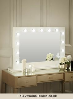 Diy vanity mirror with lights for bathroom and makeup station audrey hollywood mirror in white gloss 80 x 100cm makeup vanity mirror lighted aloadofball Choice Image