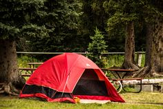 Sleeping in tents in West Yellowstone