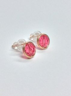 Rose Gold and Indian Pink Swarovski crystal post earrings  by Creations Chantal