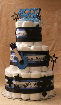 3 Tier Diaper Cake Rock Star Blue Black Music Guitar Baby Shower Centerpiece | eBay