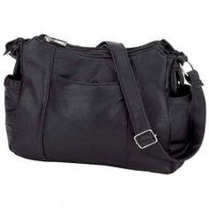 Embassy Black Solid Genuine Lambskin Leather Purse Handbag Designer Shoulder Bag