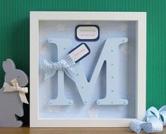 Wooden Letter Letter Frame Nursery Wall Art Christening ideas for best friend birthday girl Personalised Baby Boy Frame Baby Boy Gifts, Baby Boys, Baby Shower Gifts, Framed Wooden Letters, Deep Box Frames, Baby Frame, Home And Deco, Baby Crafts, Baby Decor