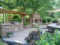 Beautiful outdoor grilling island and fireplace! :: Hometalk