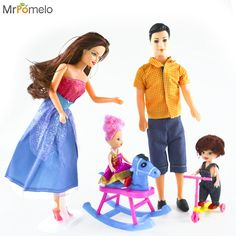 4 People and Accessories Baby Kids Toys Dolls Family Suit Dress Set Mom Dad Daughter Son Silicone Barbiess Dolls for Girls