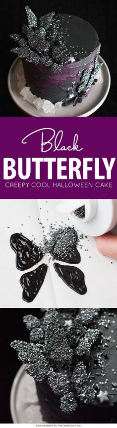 How to make a creepy-cool Black Butterfly Cake for Halloween!   Erin Gardner for TheCakeBlog.com