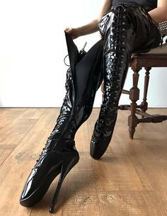 color: as shown or custom colormaterial: synthetic material MADE TO ORDER (NOT IN STOCK)- crotch high ballet boots- speed hooks and eyelets combined- side zip Thigh High Heels, Very High Heels, Black High Heels, High Heel Boots, Heeled Boots, Ballet Boots, Ballet Heels, Stilettos, Stiletto Heels