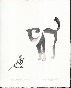 Sneak Peek: Line- Cat and mouse. Calligraphic art Examples of calligraphic art by Margaret Shepherd.