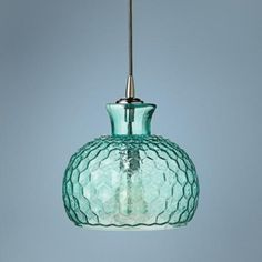 "Clark Collection 10"" Wide Aqua Jamie Young Glass Pendant - #4Y529 
