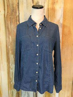 Talbots Chambray Denim Shirt Dot Button Down Roll Tab Sleeve Cotton sz 14 EUC! #Talbots #DenimShirt