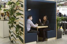 View our gallery of workplace design ideas. The office of the future is an agile environment comprised of modular furniture, collaboration pods, phone booths, and lounge spaces.