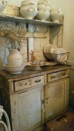 Shabby Chic home decor knowledge reference 6929803454 to attain for one really smashing, bright room. Please press the pin image now for brilliant ideas. Rustic Kitchen, Country Kitchen, Vintage Kitchen, Kitchen Decor, French Kitchen, Vintage Cabinet, Kitchen Items, Country Living, Decoration Shabby