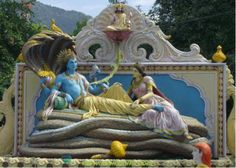 Lord reclines on the Great Serpent Anant (Without-an-End) and is the Maintainer for His respective Universe.