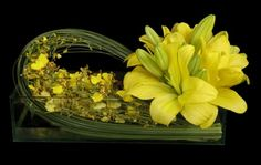 lily arrangement - yes, yellow is becoming sweet with me