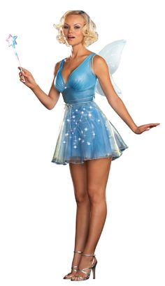 Fairy Godmother Blue Fairy Costume longer with hood and sleeves