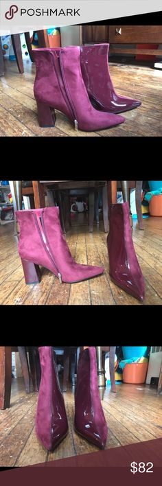 Two toned burgundy booties You will look amazing rocking these trendy two toned burgundy booties. Great fall statement shoe! They are brand new. Size 9. Brand: Public Desire Public Desire Shoes Ankle Boots & Booties
