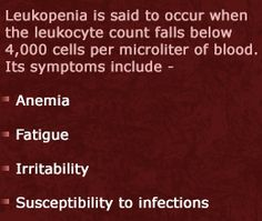 Symptoms and Treatment of Leukopenia