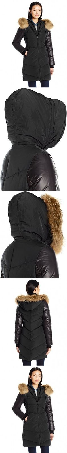 RUD by RUDSAK Women's Mya Zip Front Down Coat with Fur Hood Trim, Black, M