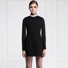 Button Decorate Round Collar Tight Waist Sleeveless Black Dress
