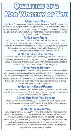 These are good qualities for me to strive for in a relationship, as well as to look for in my future husband!