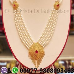 Moti Chandra Haar. Code: 656 Weight(grams): 15.37 Carat: 22 #gold #jewelry #jaimatadigoldpalace #pearl #chandrahaar #set #tops