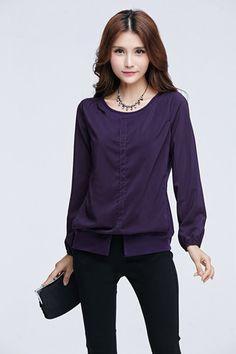 TSE965 Plus Size Overlayed Long Sleeve Tee - Purple - DEBE Beautic