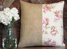 Burlap/floral pillow