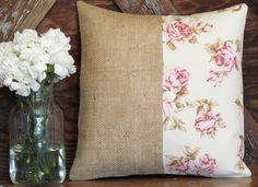 This is a rustic chic burlap pillow with a shabby chic rose fabric.   Pillow is stuffed with a removable high-quality insert/form.  .DETAILS.  Approximate Size: 14x14 at tallest/widest points Front Fabric: 100% cotton Shabby Chic Linen & Natural Burlap Back Fabric: 100% Cotton Cream Lin...