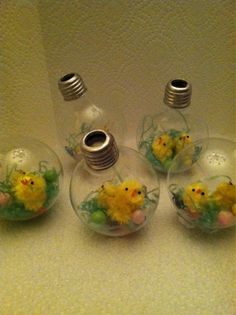 lightbulb crafts | crafts # light bulb # easter craft # easter chickens
