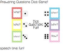Speech Time Fun: Answering Questions Dice Game! ((and giveaway!))
