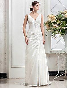 tren de lado drapedstretch vestido de novia de raso una líne... – USD $ 249.99