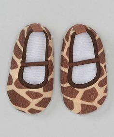 Take a look at this Brown Giraffe Flat by Diapers & Denim on #zulily today!