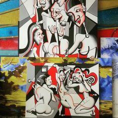 My ladies in my art studio.. :-) #cubisticladies #cubism #lujmari #cubismo #womeninart #umenienaslovensku #arte #umenie #artstudio #cvernovka #newart #newartist