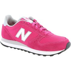 New Balance Classic WL311 Heritage Runner Women's Pink Sneaker 9.5 B ($70) ❤ liked on Polyvore featuring shoes, athletic shoes, pink, retro style shoes, pink shoes, rubber sole shoes, laced up shoes and lace up shoes
