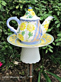 Floral Teapot Garden Totem Stake  As by GardenWhimsiesByMary