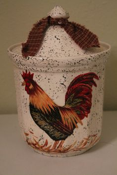 Rooster and Hen Ceramic Cookie Jar.
