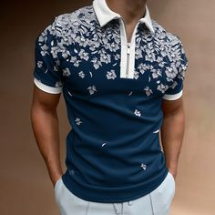 Short Sleeve Polo Shirts, Shirt Jacket, Printed Shorts, Shirt Style, Men Casual, Plant, Polo Online, Shirts Online, Clothes