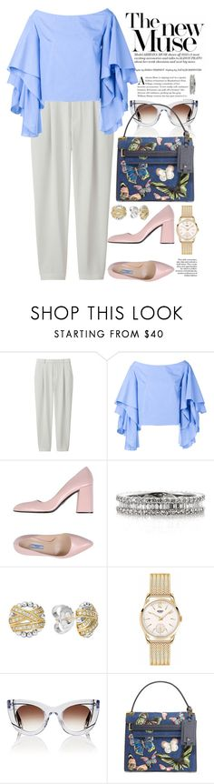 """Без названия #4099"" by catelinota-a ❤ liked on Polyvore featuring Uniqlo, Rosie Assoulin, Prada, Mark Broumand, Lagos, Henry London, Thierry Lasry and Valentino"