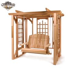 All Things Cedar Western Red Cedar Pergola Arbor Swing Set Arbor Swing, Pergola Swing, Diy Pergola, Pergola Ideas, Yard Swing, Pergola Cover, Swing Beds, Canopy Swing, Outdoor Pergola