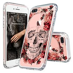 iPhone 7 Plus Case, Cool iPhone 7 Plus Case, MOSNOVO Floral Skull Flower Clear Design Printed Transparent Plastic Hard Back Cover with TPU Bumper Protective Case for Apple iPhone 7 Plus (5.5 Inch)