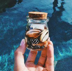Collecting shells in a bottle at the beach ocean sea in tropical island paradise Hawaii California Summer Vibes, Summer Feeling, Summer Sun, Summer Of Love, Summer Beach, I Need Vitamin Sea, Summer Goals, The Beach, Beach Bum