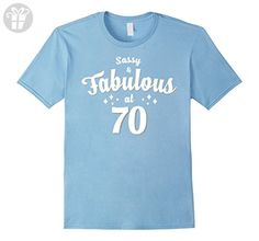 Mens 70th Birthday Gift T-Shirt Sassy & Fabulous at 70 Large Baby Blue - Birthday shirts (*Amazon Partner-Link)