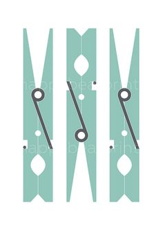 Turquoise Clothespin Print Wall Print Wall Art by happybearprints