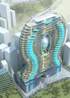 Balcony Pool Concept. James Law Cybertecture. Parinee Ism, India.  How cool is that once he's worked out how to support the balconies ?