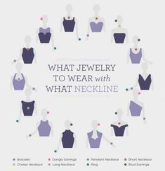 Jewelry For Moms Guide to what kinds of jewelry to wear with different necklines. Great tips for prom jewelry or formal occasions!Guide to what kinds of jewelry to wear with different necklines. Great tips for prom jewelry or formal occasions! Looks Chic, Looks Style, Different Necklines, Types Of Necklines, Street Style Outfits, Prom Jewelry, Fine Jewelry, Silver Jewelry, Gold Jewellery